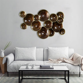 Craftter 14 Plates Brown Color Metal Wall Art, Decorative Wall Sculpture Handing Home Décor