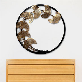 Craftter Copper Leaves in Round Frame Metal Wall Art, Decorative Wall Sculpture Handing Home Décor