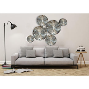 Craftter 6 Pcs Mirror Finish Handmade Metal Wall Art Sculpture Wall Decor And Hanging