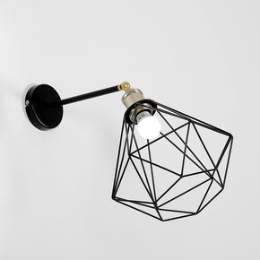 Craftter Diamond Shade Black Color Small Metal Wall Lamp Decorative Night Light