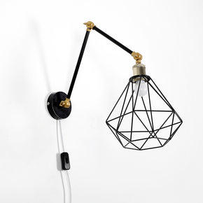 Craftter Diamond Shade Black Color Adjustable Size Metal Wall Lamp Decorative Night Light