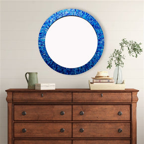 Craftter Sea Blue Color Round Mosaic 30 inch Wall Mirror Decorative Hanging Mirror