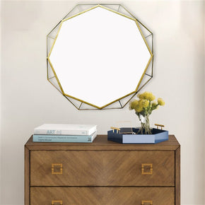 Craftter 3D Desing Gold Color Round Metal 30 inch Wall Mirror Decorative Hanging Mirror