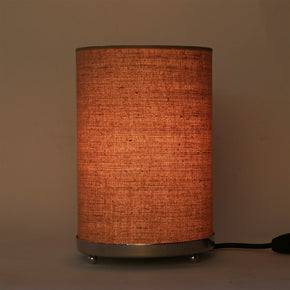 Craftter Handloom Matka Silk Brown Fabric Round Small Bedside Table Lamp