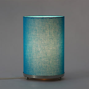 Craftter Handloom Blue Fabric Round Small Table Lamp Bedside Table Light Night Lamp
