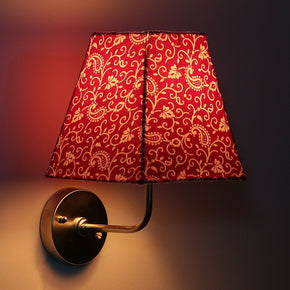 Craftter 5W Crafter Plain Red Colour Fabric Shade Square Wall Lamp Fixture Fancy Wall Lights And Lamps For Home Decoration Indoor And Outdoor, Red And White, Trapezoid Shape