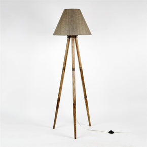 Craftter Decorative Wooden Cone shape Thick Textured Dark Colour Fabric Shade Handmade Tripod Floor Lamp