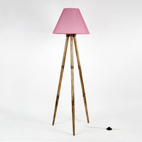 Craftter Wood Floor Lamp with Shade, Baby Pink, Pack of 1 Lamp Shade, Base , Holder, Wire, On/Off Foot Switch
