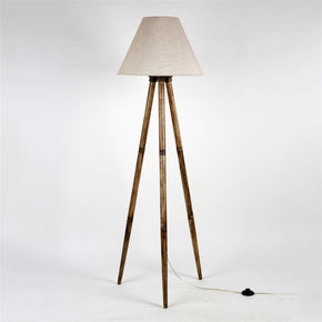 Handmade Cone Shape Textured Light Gold Color Fabric Shade Wooden Tripod Floor Lamp