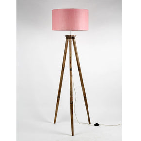 Craftter New Plain Drum Shape Beautiful Baby Pink Color Fabric Shade Wooden Tripod Handmade Floor Lamp