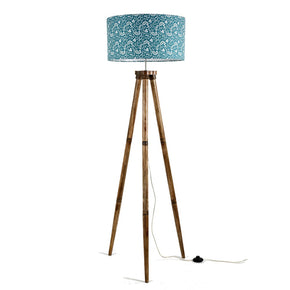 Craftter New Textured Printed Green Color Drum Shape Hand-Printed Fabric Green Shade Handmade Wooden Tripod Floor Lamp