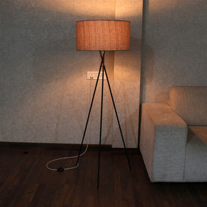 Craftter Dark Textured Khadi Fabric Metal Tripod Decorative Standing Night Lamp
