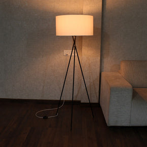 Craftter Plain White Metal Tripod Floor Decorative Standing Night Lamp