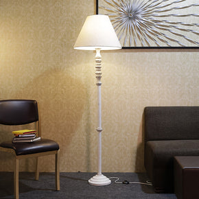 Craftter Textured Off White Fabric Shade Antique White Wooden Base Floor lamp Decorative Night Standing Lamp