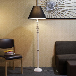 Craftter Black Fabric Shade Antique White Wooden Base Floor lamp Decorative Night Standing Lamp