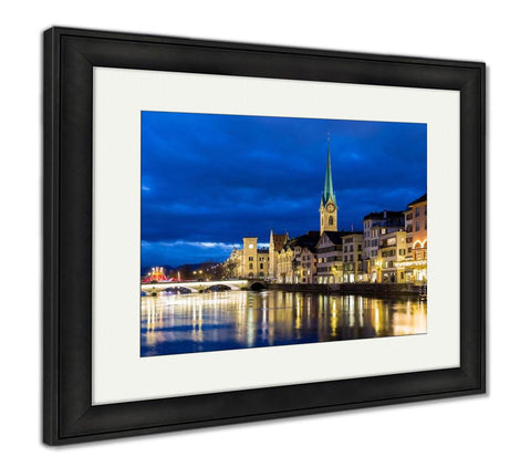 Framed Print, Zurich At Night In Switzerland Europe