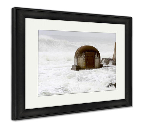 Framed Print, Wild Sea At The Pump House On Newcastle Beach Newcastle Beach Newcastle Nsw