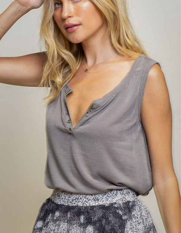 Slightly Studded Gray Tank