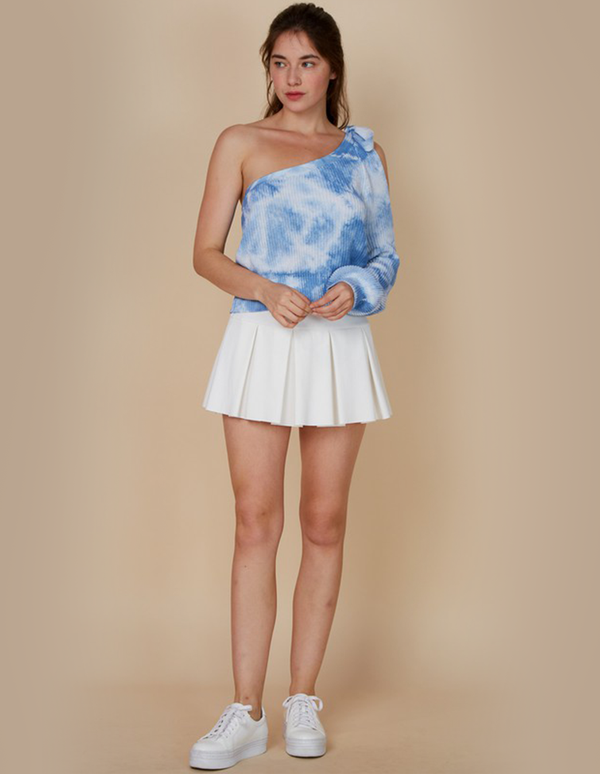 Riley Tie-Dye Shoulder Blue Sweater