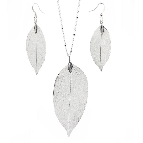 Silver silky leaves and long chain tassel earrings
