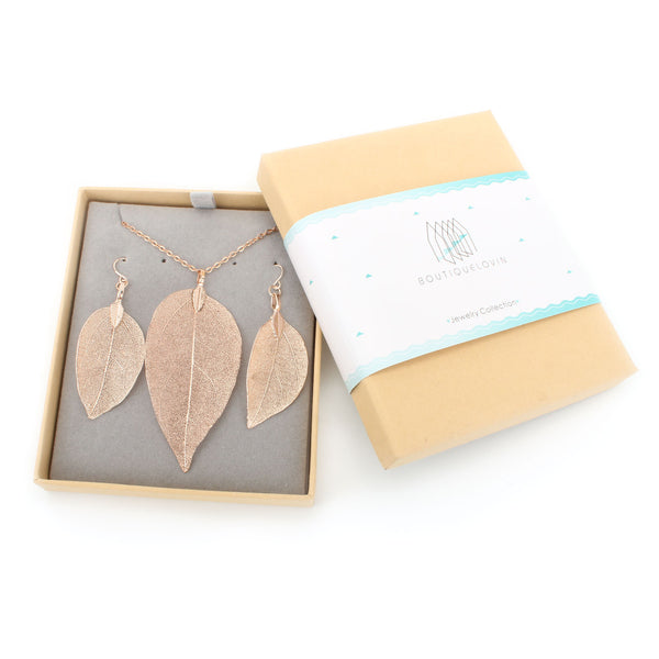 Rose Gold Plated Nature Tree Leaf Pendant Necklace Earring Set