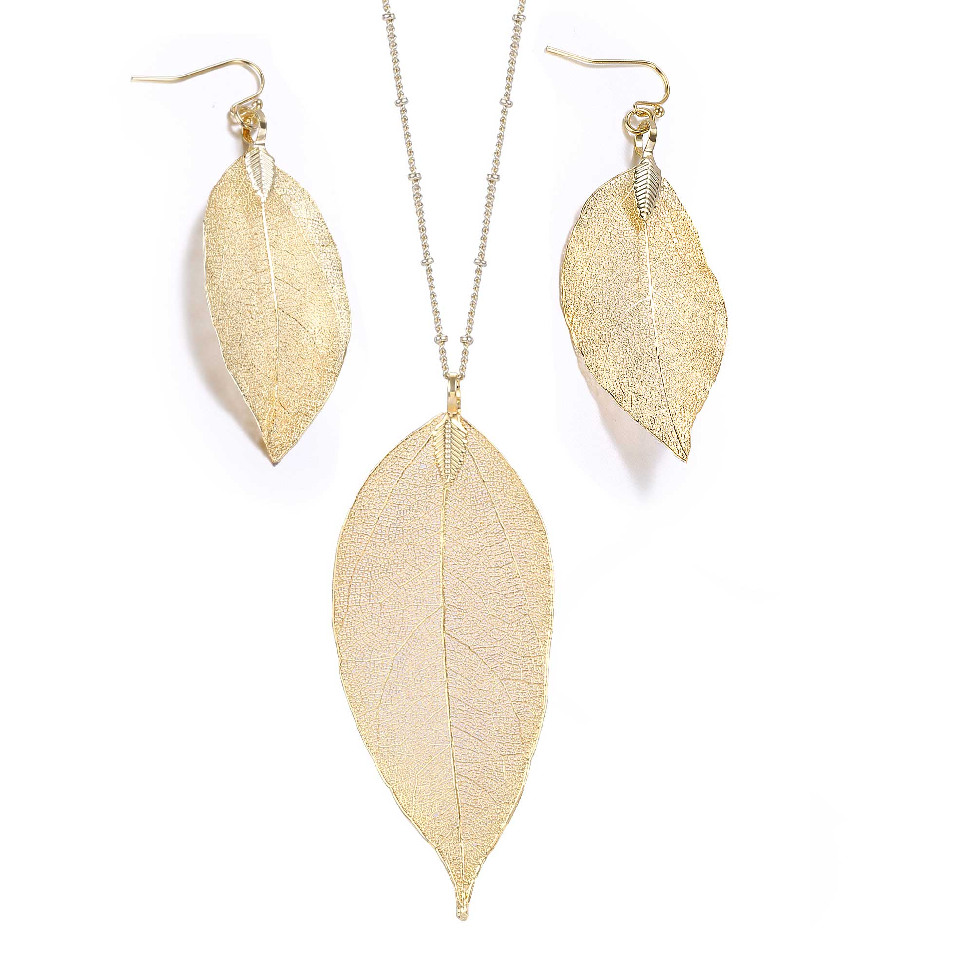 14k Gold Plated Filigree Leaf Necklace Earring Set