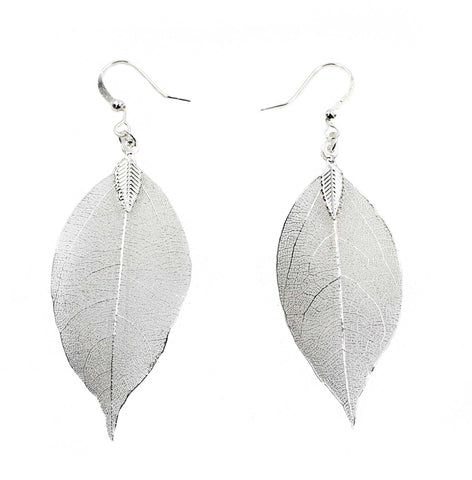 Natural Filigree Leaf Earrings, Sterling Silver