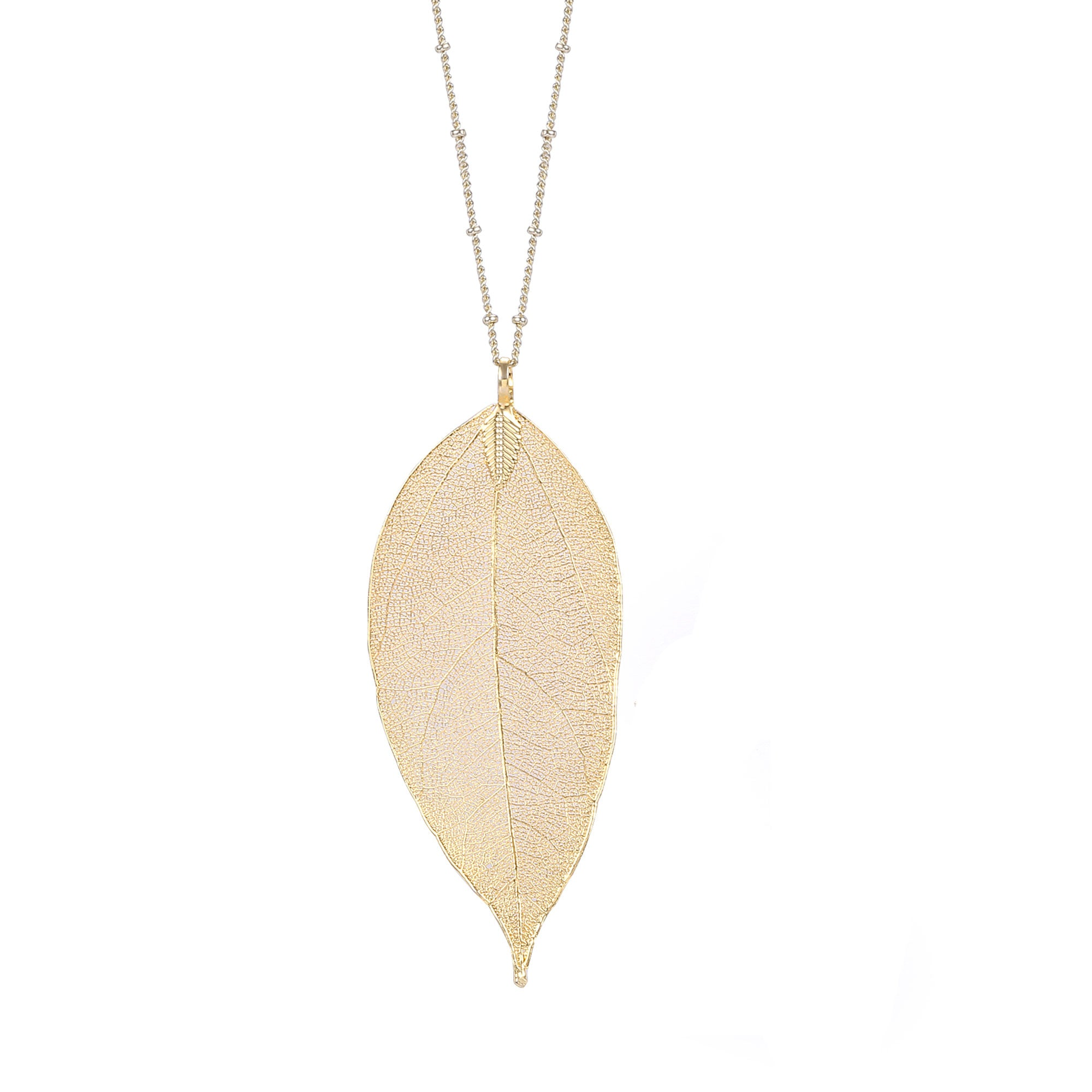 Natural Filigree Leaf Long Necklace, 14K Gold