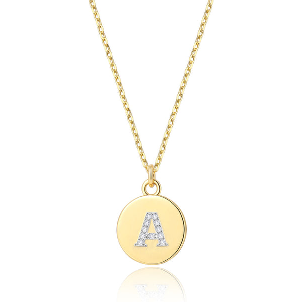 Initial Letter A Pendant Necklace, 14K Gold