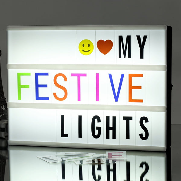 A4 Light Box , Cinematic LED Light Letter Box with 265 Black Letters ,Color Letters & Lovely Emojis, Include USB Cable, Surprise Gift and Perfect Holiday Decoration