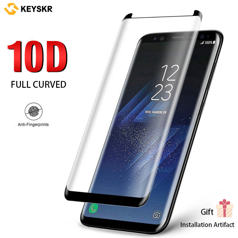 Samsung 10D Curved Full Screen Tempered Film and Free Installation Gift for Samsung S8/S8+/S9/S9+/Note8/Note9