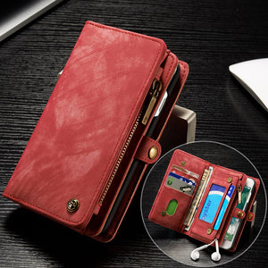 CaseMe For Samsung Wallet Case Premium Zipper Leather Purse with Detachable Flip Magnetic Cover 10 Credit Card Slots