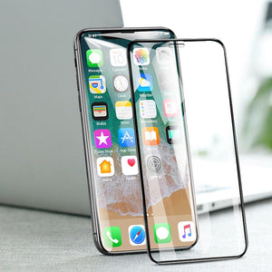 iPhone Tempered Glass With PET Back Film+Lens As Free Gift Post iPhone HD Full Screen Silk Screen Tempered Film 7D Transparent Protective Film for iPhone X/XS/XS Max/XR/8/7/6/6s