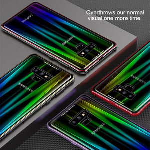 Magnetic Adsorption Case for Samsung Galaxy Note 9  More Cases Metal Bumper Magnets Aurora Tempered Glass Cover