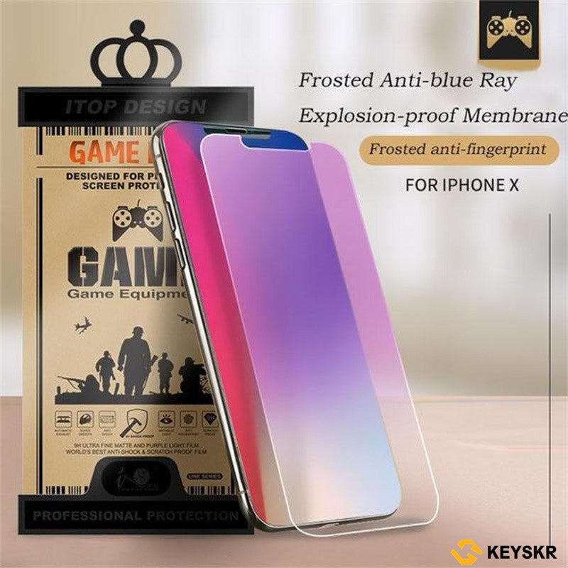 iPhone X/XS/XS Max/XR/8/7/6/6s Screen Protective 2 in 1 Tempered Glass+Lens Post for iPhone Frosted Anti-blue Ray Tempered Glass for