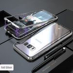 ANTI-KNOCK METAL MAGNETIC FRAME 9H TRANSPARENT  Glass Protective Case  For SAMSUNG S8 S8 PLUS