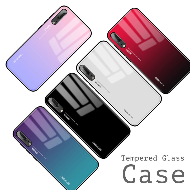 sale retailer fa808 28695 Gradient Aurora Tempered Glass Cases For Huawei P20 Pro Case P20 Lite Case  Luxury Colorful Smooth Protector Cover P 20 Pro Shell