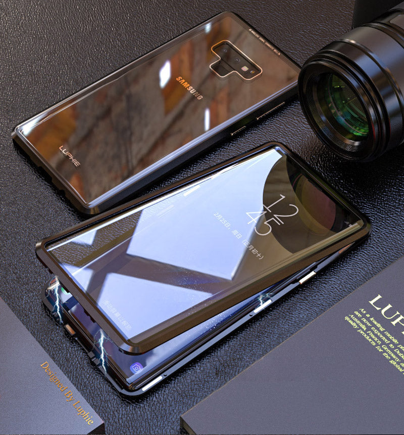 Magnetic Adsorption Transparent Tempered Glass Two side Glass Cover Phone Case For Samsung Note9