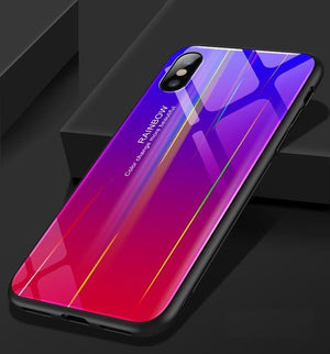 For IPhone X Case Discolor 6 6s Plus 9H Tempered Glass Back Aurora Gradient Color Shockproof Case for iPhone 8 7 Plus Case