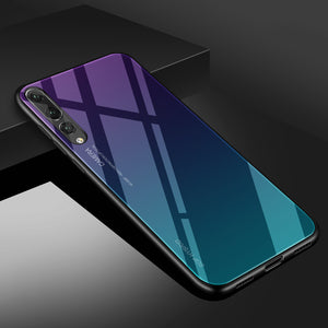 sale retailer b7f85 8019b Gradient Aurora Tempered Glass Cases For Huawei P20 Pro Case P20 Lite Case  Luxury Colorful Smooth Protector Cover P 20 Pro Shell