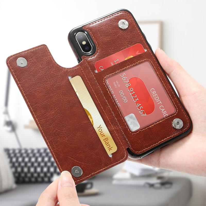9f5f6ed7e46f1e Retro PU Leather Case For iPhone X 6 6s 7 8 Plus 5S SE Multi Card ...