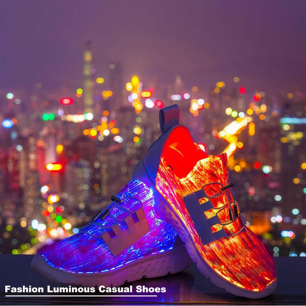 Fiber Optic LED Shoes, Light Up Shoes for Men Flashing Trainers for Festivals