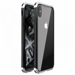 Luphie iPhone XS XS Max XR Metal Bumper Case With Tempered Glass Back