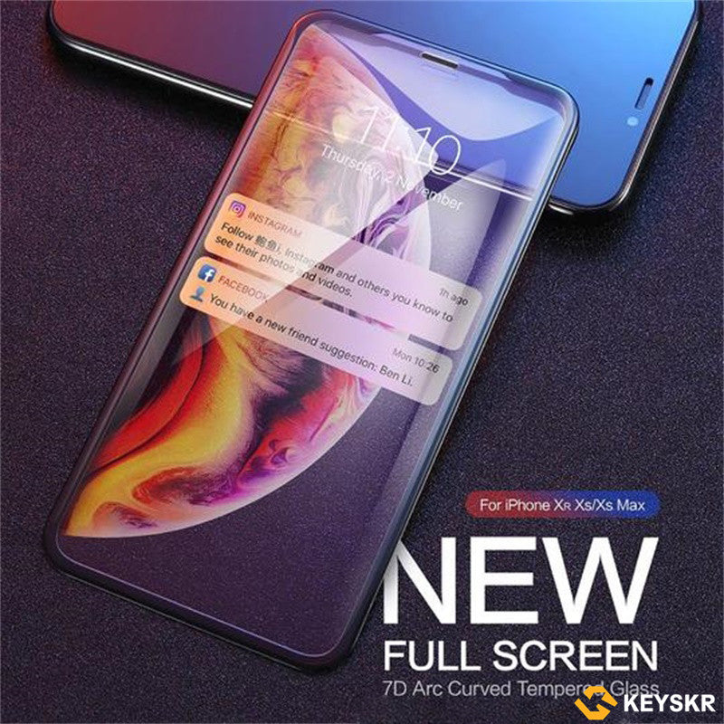 Diamond Tempered Glass For iPhone X XS Max XR 7/8/6/6s/Plus/Protective Screen Protector Soft Carbon Fibre Film For iPhone XS Full Cover Glass