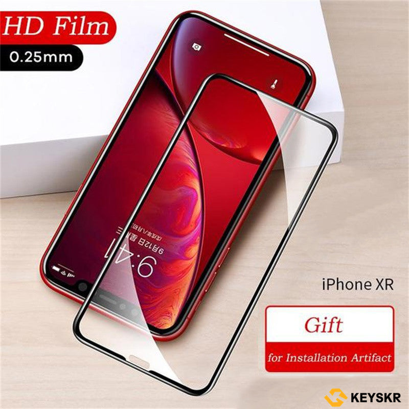 Fully covered rubberized Tempered film for iPhone XR