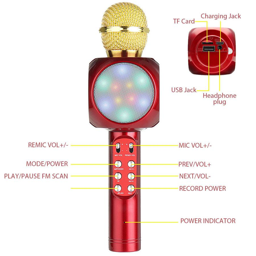 Wireless Bluetooth Mini Speaker For Home Microphone KTV Fashion LED Flash Light Hanheld Microphone For Music Player
