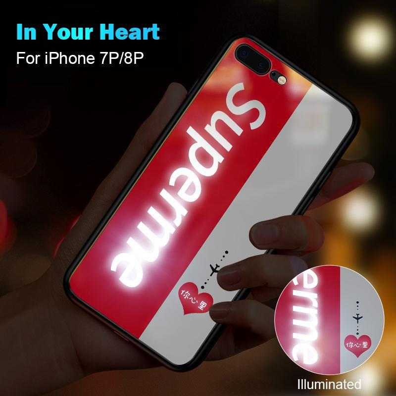 Superme Apple X mobile phone shell luminous glass sup tide brand couple for iPhone 6/6s/7/7p/8/8p/6p/6sp/X/XS/XS Max/XR