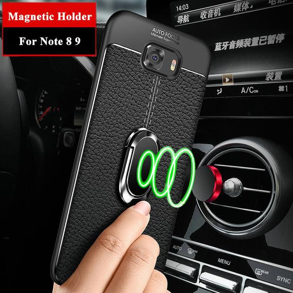 Soft Silicone Leather Case With Magnetic Car Holder&Free Rope For Samsung Galaxy Note 9 8 S8 S9 PLUS