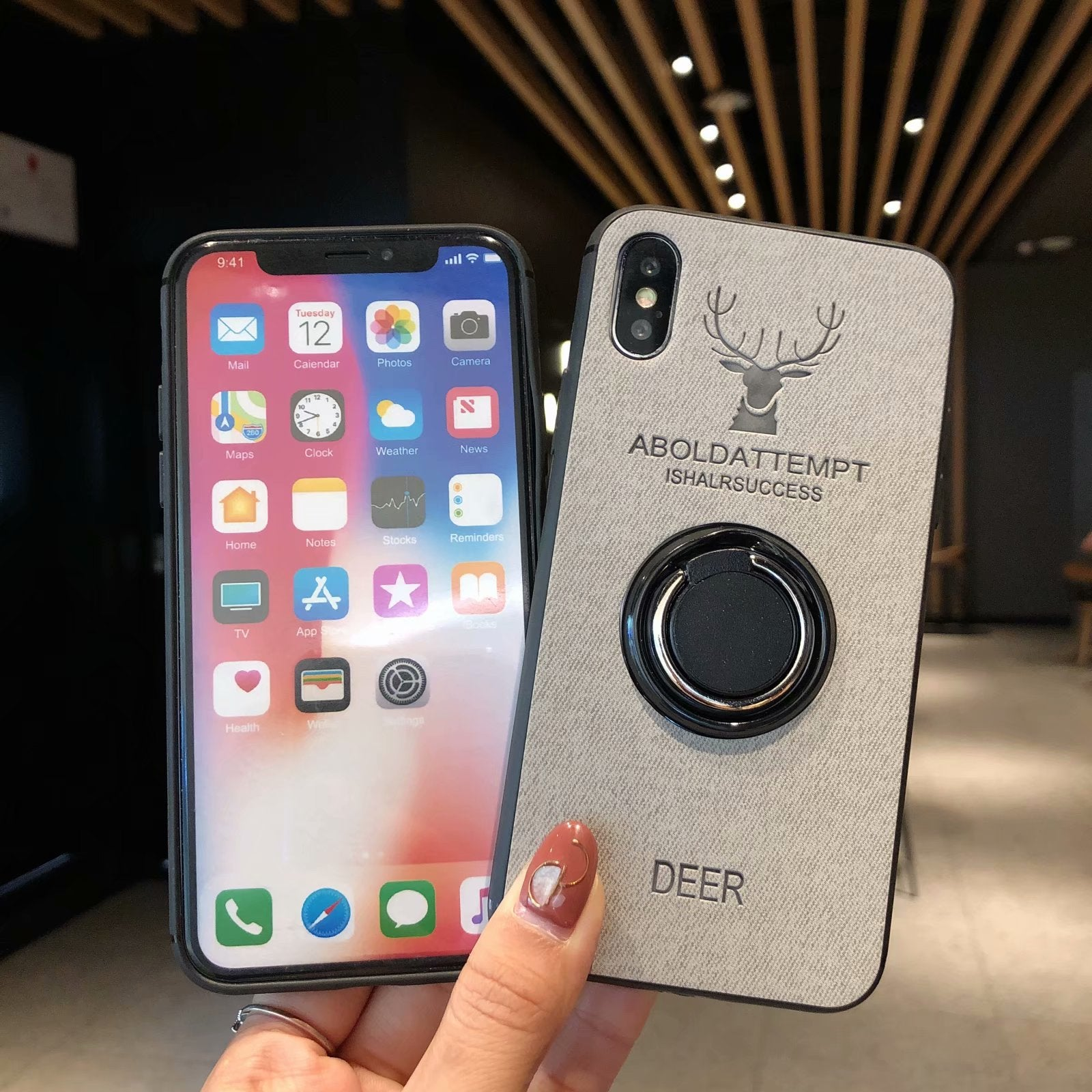 Luxury Deer Fabric Phone Case with  Silicone Protective Back For iPhone 6 6S 7 8 Plus X XS XR XS MAX