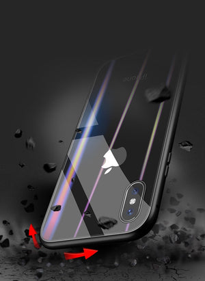 New Upgraded Ultra Magnetic 9H Aurora Tempered Glass Cover Phone Protective Case for iPhone